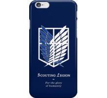 Attack on Titan SCOUTING LEGION Blue Survey Recon Corps iPhone Case/Skin