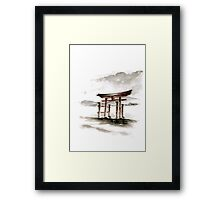 Cool mens gift Anniversary gift Torii Gate japanese art sumi-e asian decor wedding gift birthday gift japanese temple bridesmaid gift  Framed Print