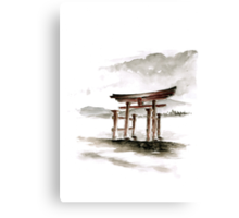Cool mens gift Anniversary gift Torii Gate japanese art sumi-e asian decor wedding gift birthday gift japanese temple bridesmaid gift  Canvas Print