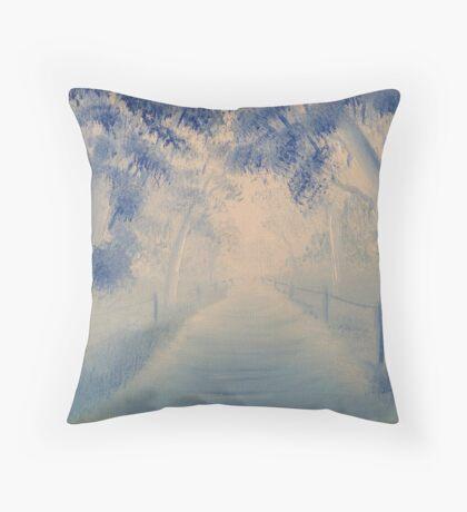Blue track Throw Pillow