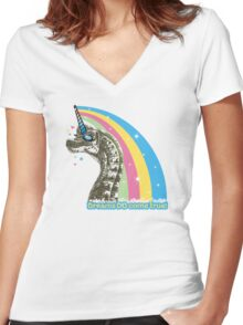 Funny dinosaur unicorn girly rainbow dreams come true Women's Fitted V-Neck T-Shirt