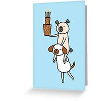 Two Dogs with Cake Greeting Card