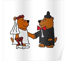 Funny Cool Bride and Groom Brown Bear Art Poster