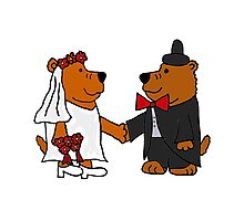 Funny Cool Bride and Groom Brown Bear Art Photographic Print