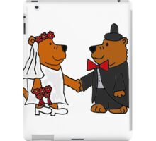 Funny Cool Bride and Groom Brown Bear Art iPad Case/Skin