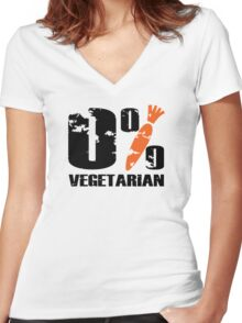 0 % Vegetarian Women's Fitted V-Neck T-Shirt