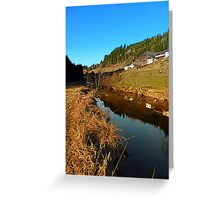 A river, the valley and traditional farmland | waterscape photography Greeting Card