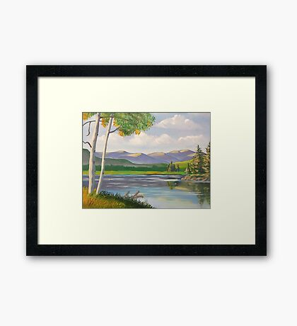 Riverside Birch Framed Print