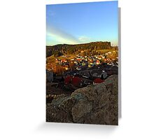 Village skyline below the castle at sundown | landscape photography Greeting Card