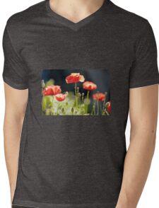 Poppies Mens V-Neck T-Shirt