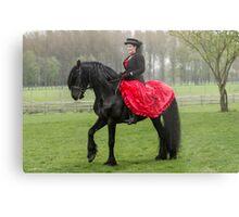 Friesian Horse and Rider Metal Print