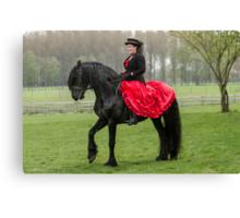 Friesian Horse and Rider Canvas Print