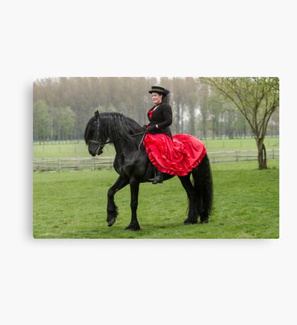 Friesian Horse and Rider Canvas Print
