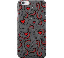 Black and Red Heart Pattern iPhone Case/Skin