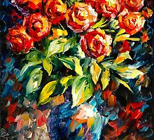RED ROSES by Leonid  Afremov