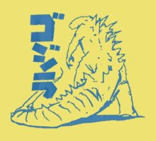 Godzilla Outline Blue Kids Clothes