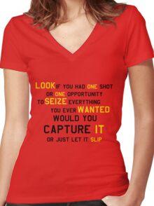 EMINEM MOTIVATIONNAL SHIRT BLACK&YELLOW Women's Fitted V-Neck T-Shirt