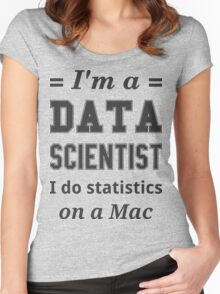 I'm a DATA SCIENTIST I do statistics on a Mac - Black on Grey Women's Fitted Scoop T-Shirt