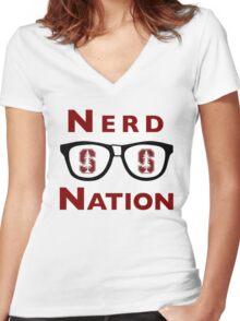 Cardinal Nerd Nation Women's Fitted V-Neck T-Shirt