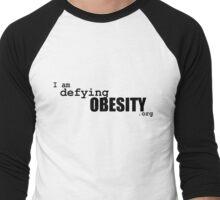 I am defying obesity (black print) Men's Baseball ¾ T-Shirt