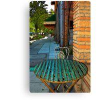 Table On A Sidewalk Canvas Print