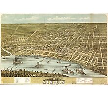 Bird's eye view Map of the city of Memphis Tennessee (1870) Photographic Print