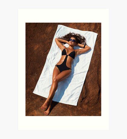 Young sexy woman in swimsuit sunbathing art photo print Art Print