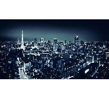 Panoramic city scenery of Tokyo and Tokyo tower Black and white art photo print Photographic Print