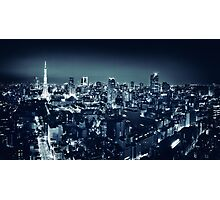 Panoramic city scenery of Tokyo and Tokyo tower Black and white art photo print Photographic Print