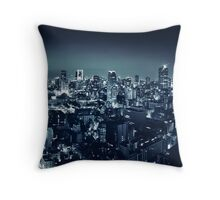 Panoramic city scenery of Tokyo and Tokyo tower Black and white art photo print Throw Pillow