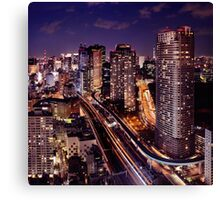 Tokyo city aerial nighttime view Japan art photo print Canvas Print
