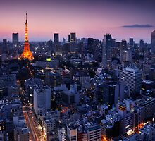 Tokyo tower illuminated in twilight art photo print by ArtNudePhotos