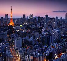 Tokyo tower illuminated in twilight art photo print by ArtNudePhotos