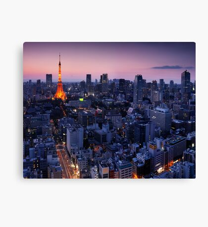Tokyo tower illuminated in twilight art photo print Canvas Print
