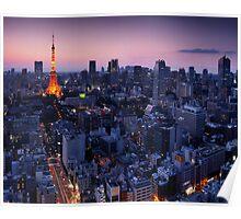 Tokyo tower illuminated in twilight art photo print Poster