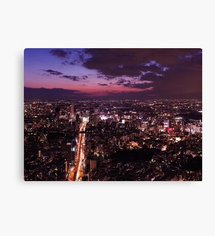 Dramatic twilight scenery of Tokyo city landscape and highway art photo print Canvas Print