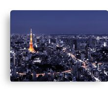 Artistic aerial scenery of Tokyo Tower and cityscape at night art photo print Canvas Print