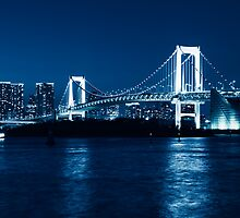Tokyo Rainbow bridge at night toned in blue art photo print by ArtNudePhotos