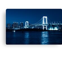 Tokyo Rainbow bridge at night toned in blue art photo print Canvas Print