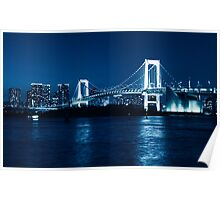 Tokyo Rainbow bridge at night toned in blue art photo print Poster
