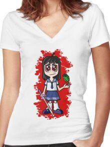 Japanese School girl Women's Fitted V-Neck T-Shirt