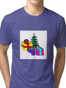 christmas peeking Tri-blend T-Shirt
