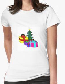 christmas peeking Womens Fitted T-Shirt