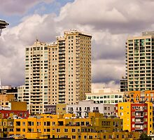 Colorful Buildings and Space Needle by dbvirago