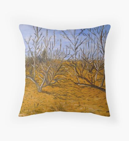 Early spring in orchard Throw Pillow