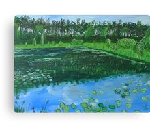 Forest pond with angler Canvas Print