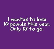 I wanted to lose 10 pounds this year. Only 13 to go by digerati