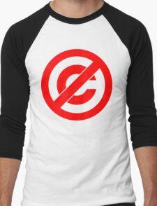 Public Domain Symbol, Copyleft [Red Ink] Men's Baseball ¾ T-Shirt