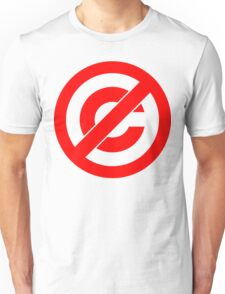 Public Domain Symbol, Copyleft [Red Ink] Unisex T-Shirt
