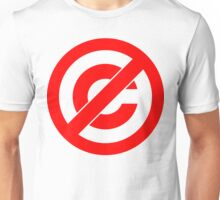 Public Domain Symbol, Copyleft [Red Ink] Unisex T-Shirt